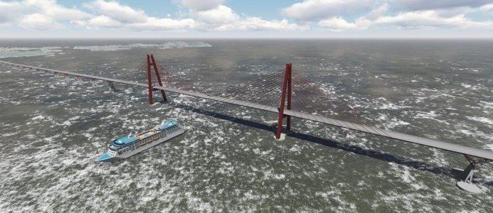 Flytbro över Bjørnafjorden i Norge