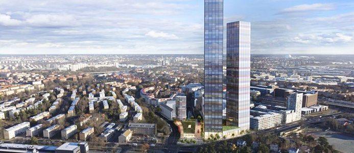 De två tornen på 78 respektive 58 våningar. Bildkälla: SSM Fastigheter