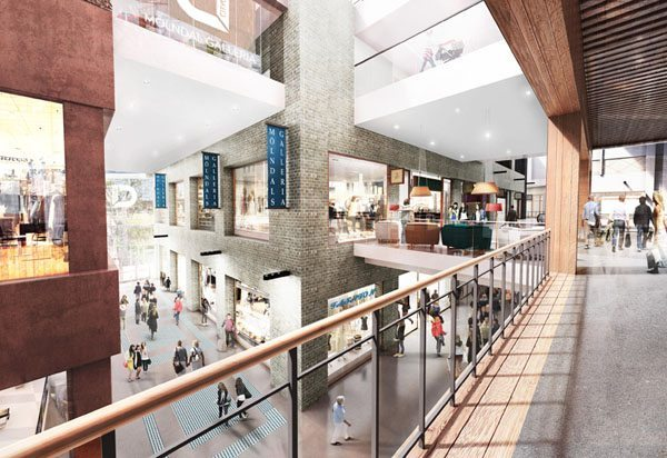 Illustration på insidan av Mölndals nya galleria. Bild: R-studio for Architecture och Arkitekterna Krook & Tjäder.