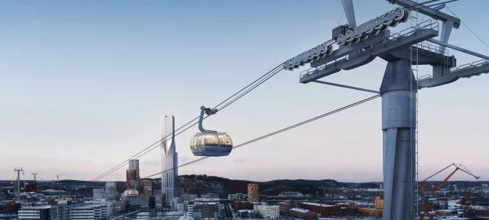 Bilden visar hur linbanan skulle kunna se ut över Göta älv och Lindholmen med det planerade höga Karlatornet. Illustration: Tomorrow