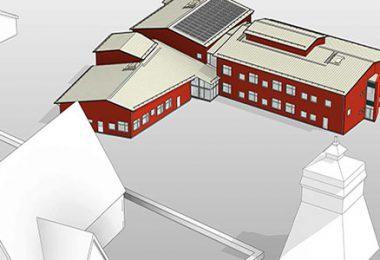 Bild på nya Jumkils skola. Illustration: Tengbom