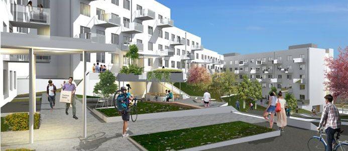 207 nya student- och ungdomslägenheter i Ektorp, där de första hyresgästerna kommer att kunna flytta in i december 2018. Arkitekt: Kirsch+Dereka.