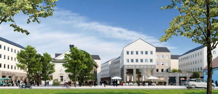 Wingårdh arkitektkontor har ritat ett förslag till en stadsdel som utgår från stadens stråk och gator. Arkitekt: Wingårdh arkitektkontor Bildkälla: Riksbyggen