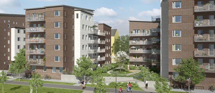 Lunds Södra 2 kommer klassas som lågenergihus och ligga på energiklass C. Bild: JM