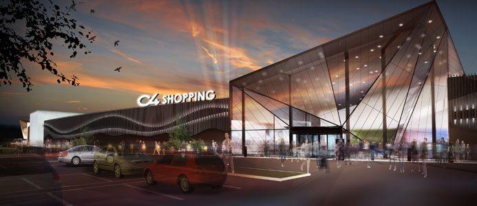 Cirka 100 butiker kommer att finnas i köpcentrumet C4. Bildkälla: Assemblin