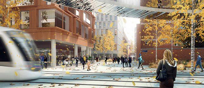 Illustration över de planerade bygget i Lindholmen, Göteborg. Illustration: Henning Larsen
