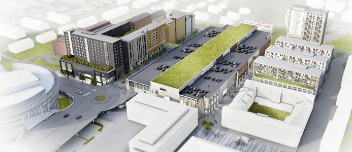 """NCC har som mål att Mölndals gallerian ska bli som """"ett vardagsrum"""" i Mölndal. Bild: R-studio for Architecture och Arkitekterna Krook & Tjäder"""