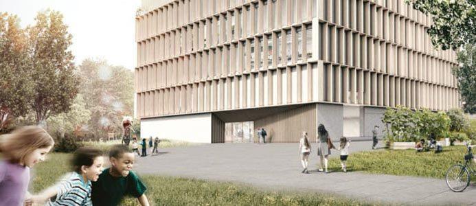 Skissförslag på den nya skolan i Jakobsberg. Bild av: Krook & Tjäder