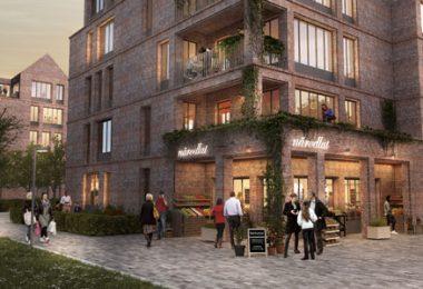 Bild från förslaget som FB Bostäder nu ska bygga enligt. Illustration: Tengbom