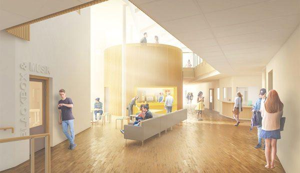 Nya skolans café. Illustration: Fredblad Arkitekter