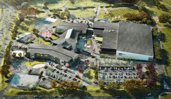 Fågelvy över den nya skolan i Varberg. Illustration: Fredblad Arkitekter
