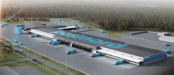Näthandel. Den nya terminalen i Örebro är anpassad för att möta den växande näthandelns krav på effektiv pakethantering. 3D-bild: Arkitekterna Krook & Tjäder