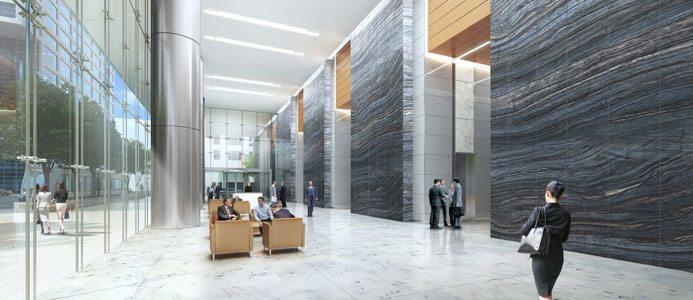 Illustration över lobbyn. Bild: Skanska