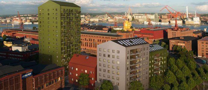 """Dockan. I kvarteret """"Dockan"""" får fasaderna en spännande arkitektur. Bild: Skanska/Wec360"""