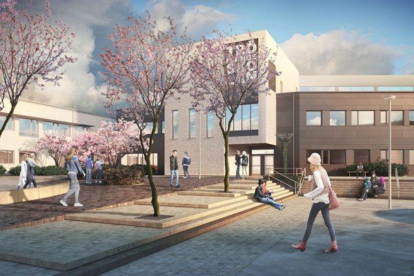 Illustration av skolgården. Illustration: Fredblad Arkitekter