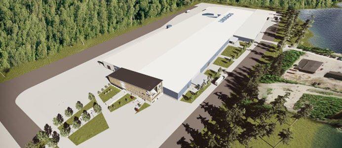 Lindbäcks bygger en ny produktionsanläggning för flerbostadshus med målsättningen att den ska drivas helt av förnybara energikällor. Bildkälla: Lindbäcks bygg