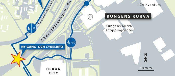 Karta ny gång och cykelbro Kungens kurva. Bild: Trafikverket