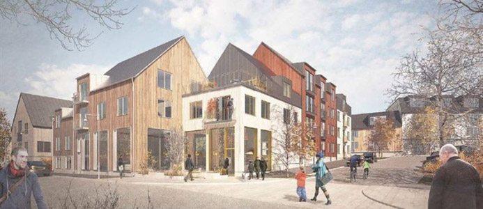 Skiss över det nya området i Vaxholm med 300 nya bostäder. Arkitektskiss: EttElva
