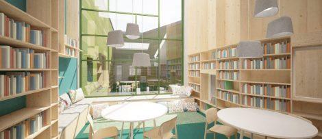 Skolbyggnaden omfattar 10 500 kvm BTA och är en kompakt byggnad med mycket betong. Entrén upplevs som öppen och luftig. Det finns även mindre miljöer för gruppstudier. Foto/illustration: Horisont Arkitekter AB