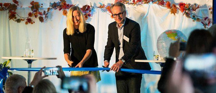 Bornsjöverket invigs av miljöborgarråd Katarina Luhr och Stockholm Vatten och Avfalls VD Krister Schultz.