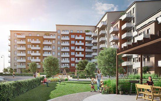136 lägenheter i JM's projekt Spaken i Täby. Illustration: Sweco