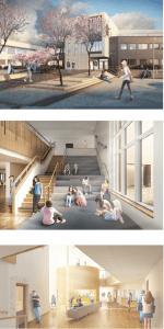 Interiör Varbergs kommuns nya idrottscentrum och skola