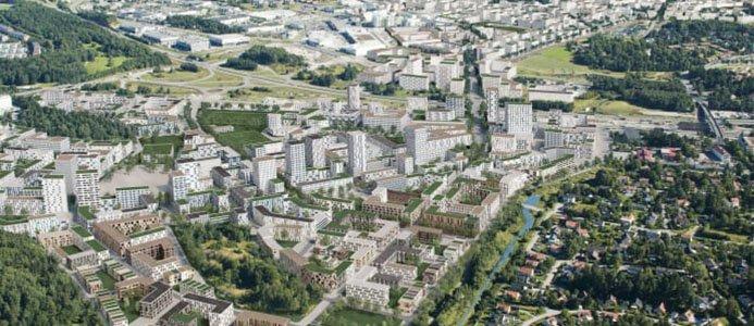 Vy över framtida Veddesta och Barkarbystaden. (Illustration Järfälla kommun och Tovatt Architects and Planners.). Bild: Järfälla Kommun