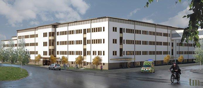 Skissbild på den nya psykiatribyggnaden vid Norrlands universitetssjukhus. Bild: Västerbottens läns landsting/TM