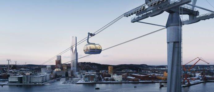 Tidig visionsbild av hur den planerade linbanan i Göteborg skulle gå över älven från Järntorget till Lindholmen, till vänster, och vidare mot Lundby och Wieselgrensplatsen. Visionsbild: Tomorrow.