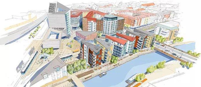Gamlestaden kommer att genomgår stora förändringar närmaste åren. I centrum finns byggrätt för ett hotell. Illustration: White/Göteborgs stad.