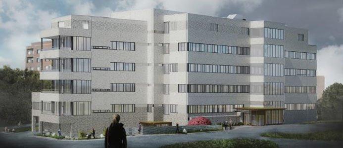 Illustration av ny sjukhusbyggnad Karlskrona