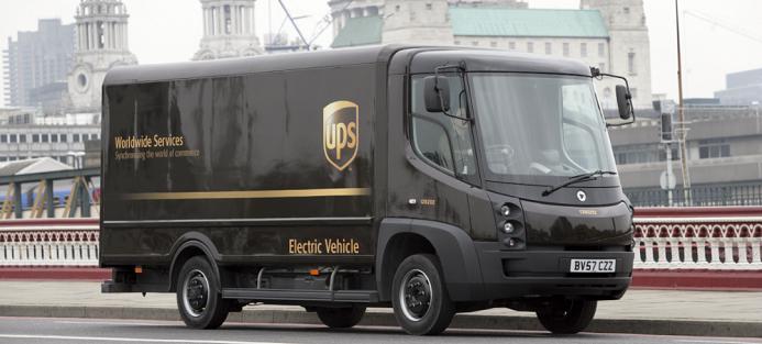 Eldrivet fordon från UPS. Foto: UPS