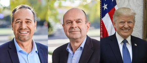Mathias Ternell, handelspolitisk direktör, och Bo-Erik Pers, vd för Jernkontoret och Dondal Trump, USA:s 45:e president.