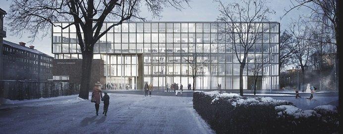 Illustration över Uppsalas nya stadshus. Illustration: Henning Larsen Architects