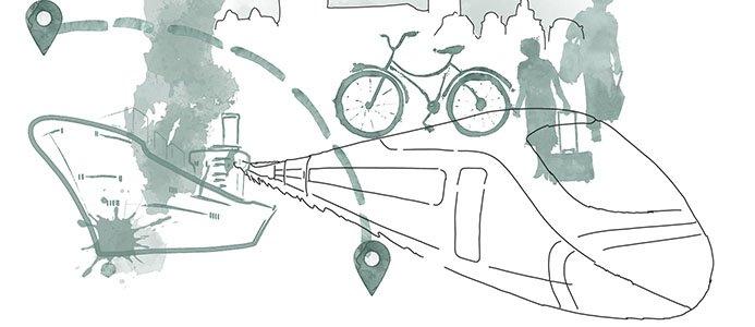 Illustration av Europas transportmedel