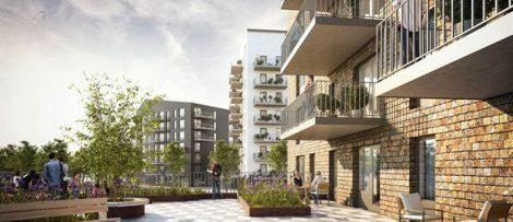 illustration av nya flerbostadshus i Bäckby Västerås.