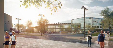 Illustration av Lidl Sveriges nya huvudkontor