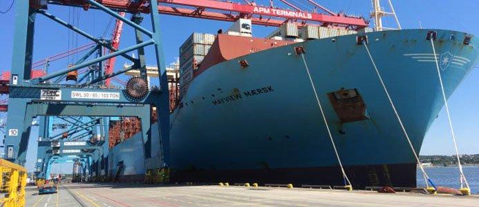 Fartyget Mayview Maersk på besök i Göteborg, APM Terminals.