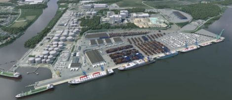 Visualisering av Pampushamnens planerade utformning, färdig år 2023. Foto: Norrköpings Hamn AB