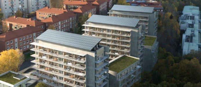 Bild på solceller på taket av Brf Viva, Göteborg. Bildkälla: Riksbyggen