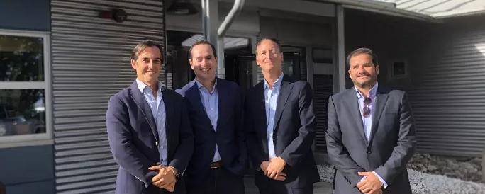 Rafael Alonso, Internationell regionchef CYES, Antonio Daban, VD CYES Sverige, Örjan Larsson, styrelseordförande Gävle Hamn, Julio De la Cruz, projektchef CYES Sverige