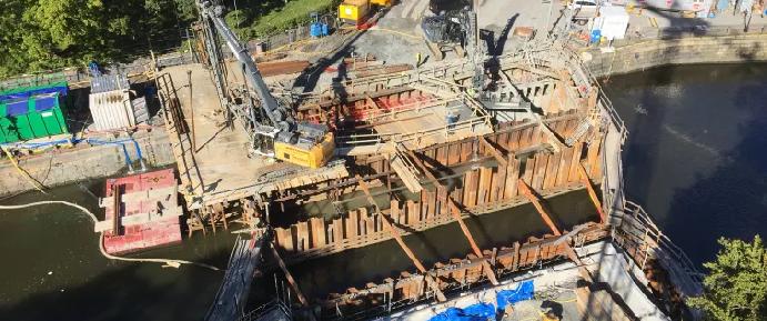 Den pågående rekonstruktionen av Vasabron över Vallgraven i centrala Göteborg. Bild: Trafikkontoret Göteborgs Stad