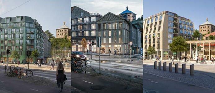 Så här ser skissbilderna ut för de tre finalistförslagen. Källa: Göteborg stad