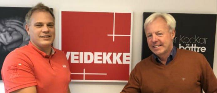 Thomas Torefeldt ansvarig för Grundläggning i Veidekke. Sture Hillbom, vd NIBU Borr AB. Foto: Veidekke