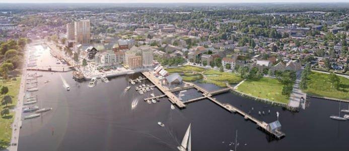 Visionsbild över Norrtälje hamn - Norrtälje stads nya framväxande stadsdel. Foto: Norrtälje kommun