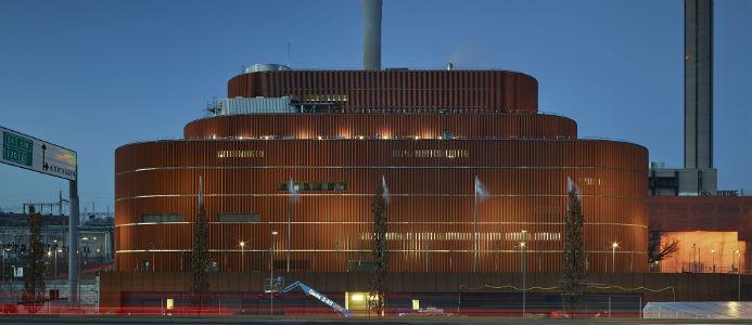 Värtaverkets biokraftvärmeverk KVV8, fasaden. Fotograf: Robin Hayes
