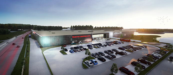 Töckfors Shoppingcenter gränsar mot Norge
