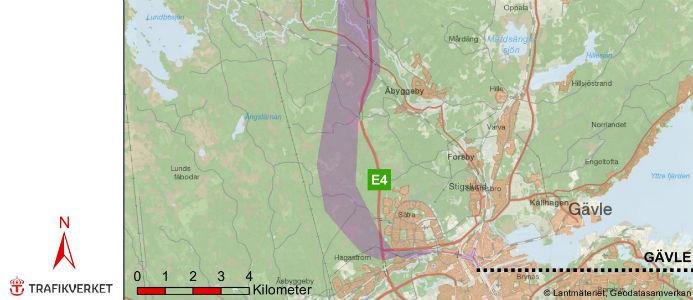 Vald korridor för lokalisering av järnväg Gävle- Kringlan. Bild: Trafikverket