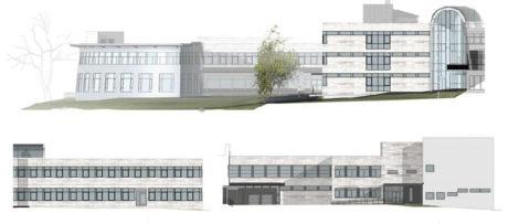 Bilderna visar hur fasaden mot söder respektive öster kommer att se ut efter renoveringen av Universitetet i Tromsø. Illustration: Ratio Arkitekter