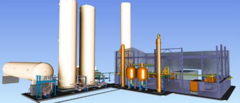 3D-modell av luftgasfabriken där Nippon Gases skall producera flytande oxygen och nitrogen genom att kondensera luft. Den flytande gasen lagras därefter i vakuumisolerade lagertankar där den har en temperatur på ca. -180 grader Celsius. Gasen fraktas sedan via kryotankbilar ut till kund. Illustration: Nippon Gases